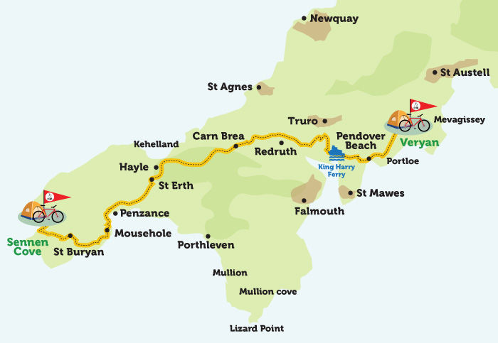 Leg 1: Sennen Cove to Veryan on the National Cycle Network