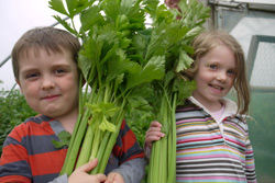 Maisy and Daniel with Celery