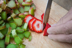 Rhubarb & Strawberries prep