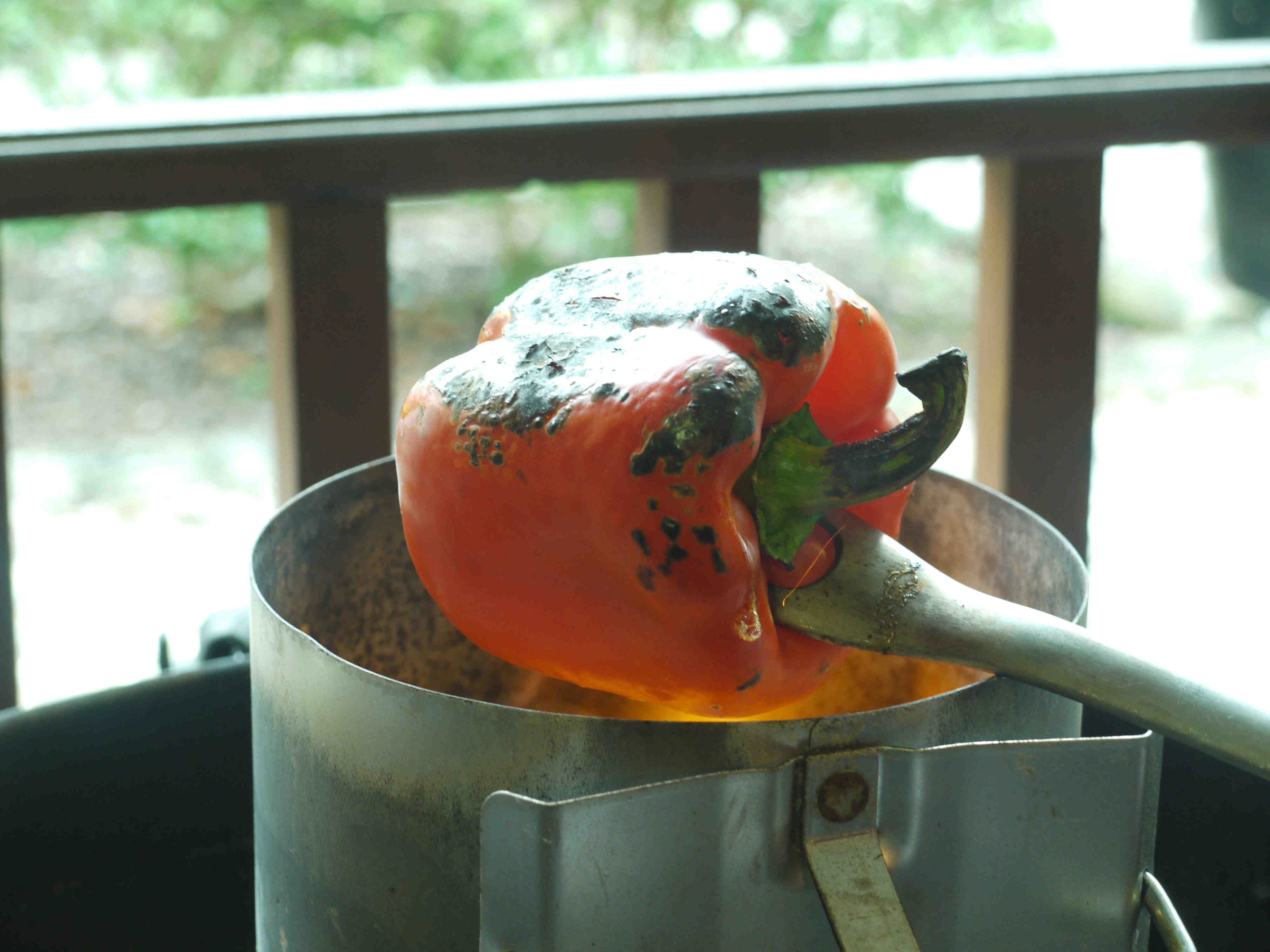 Charring the red pepper