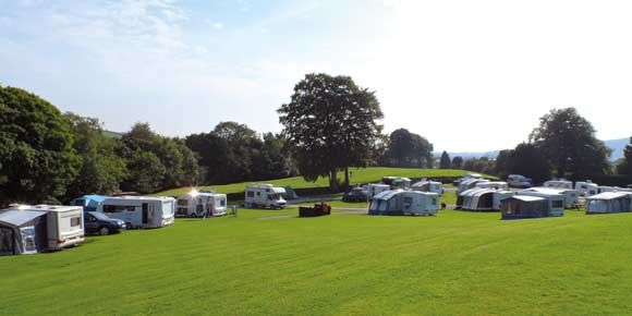 Caravan pitched at Kendal campsite, Lake District