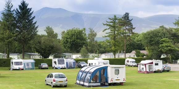 Stunning scenery from Derwentwater campsite, Campsites in the Lake District