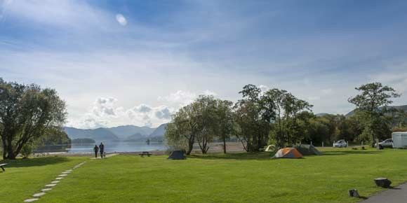 Stunning views over the lakes from Keswick campsite, Campsites in the Lake District