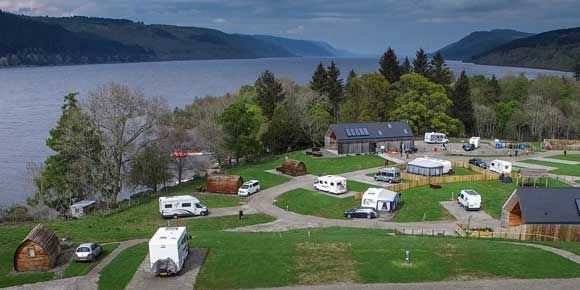 Aerial views of the stunning Loch Ness Shores campsite, Scotland