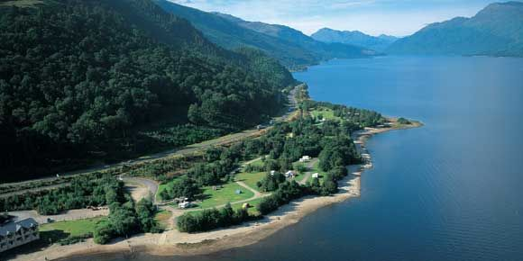 Aerial views of the magnificent Luss campsite, campsites in Scotland