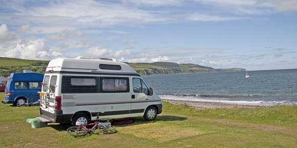 Dolphin watching on the shore side pitches at Rosemarkie campsite Scotland