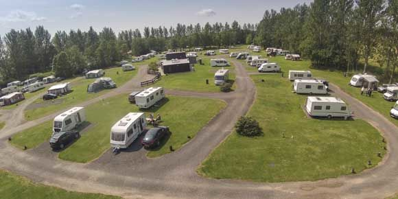 Grass pitches at Scone campsite, Scotland