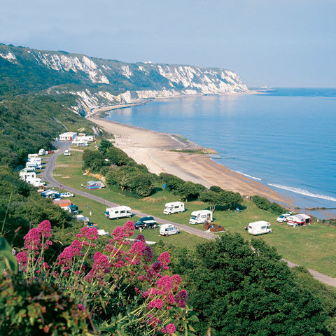 Stunning views from Folkestone campsite, Kent
