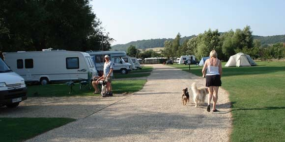 Grass pitches at Winchcombe Campsite, Cotswolds camping