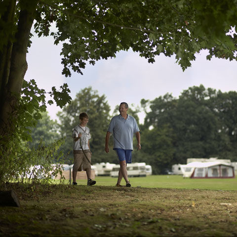 Grass pitches at Theobalds Park campsite, London