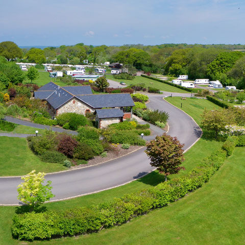 Aerial view over Charmouth campsite, campsites in Dorset
