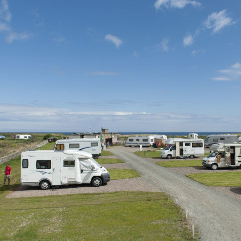 Beach holiday at Beadnell Bay campsite, Northumberland