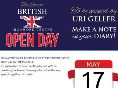 Uri Geller opens the British Ironwork Centre on May 17th
