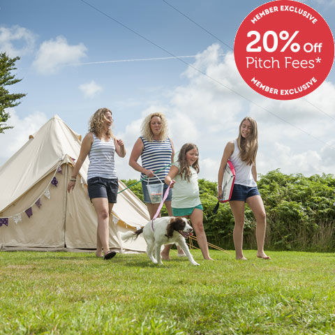 Family camping at Lynton campsite, Devon