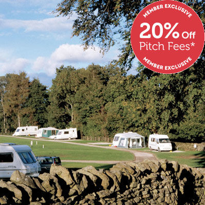 Caravan pitched at Kendal campsite, Campsites in the Lake District