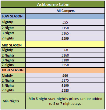 Ashbourne Cabin Pricing 2015