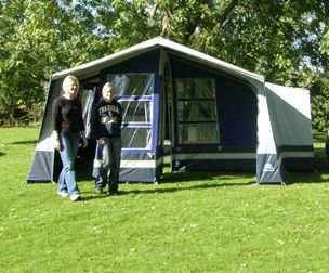 A trailer tent with awning