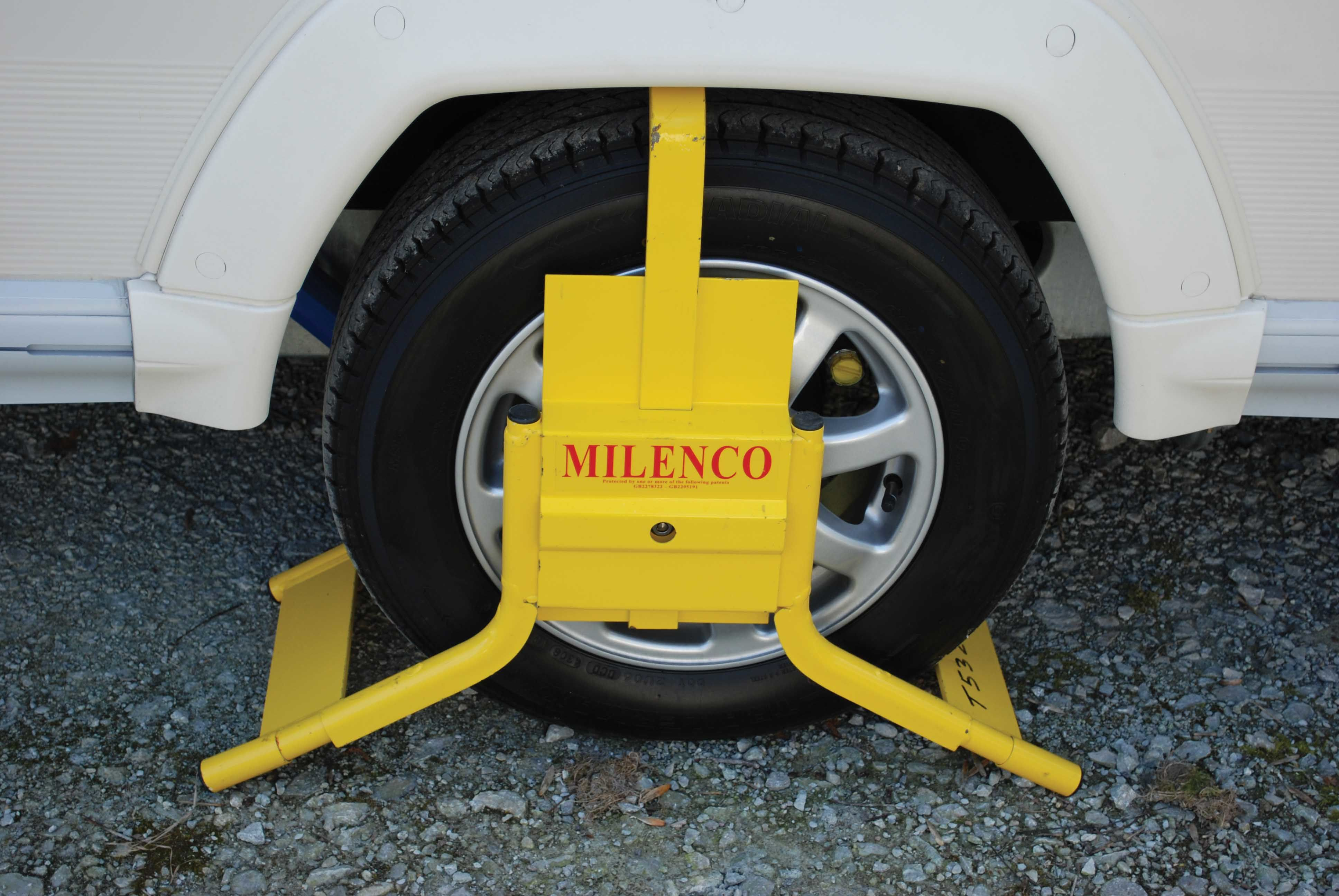 A wheel clamp in use