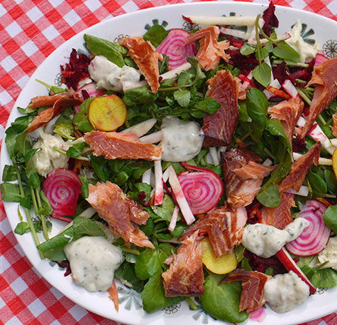 Hot-smoked trout salad