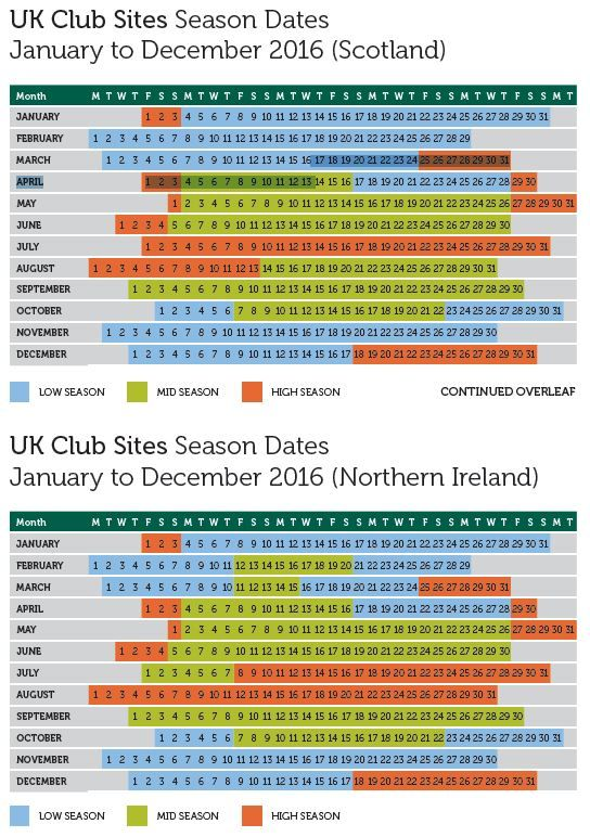 2016 seasonal dates scotland and ireland