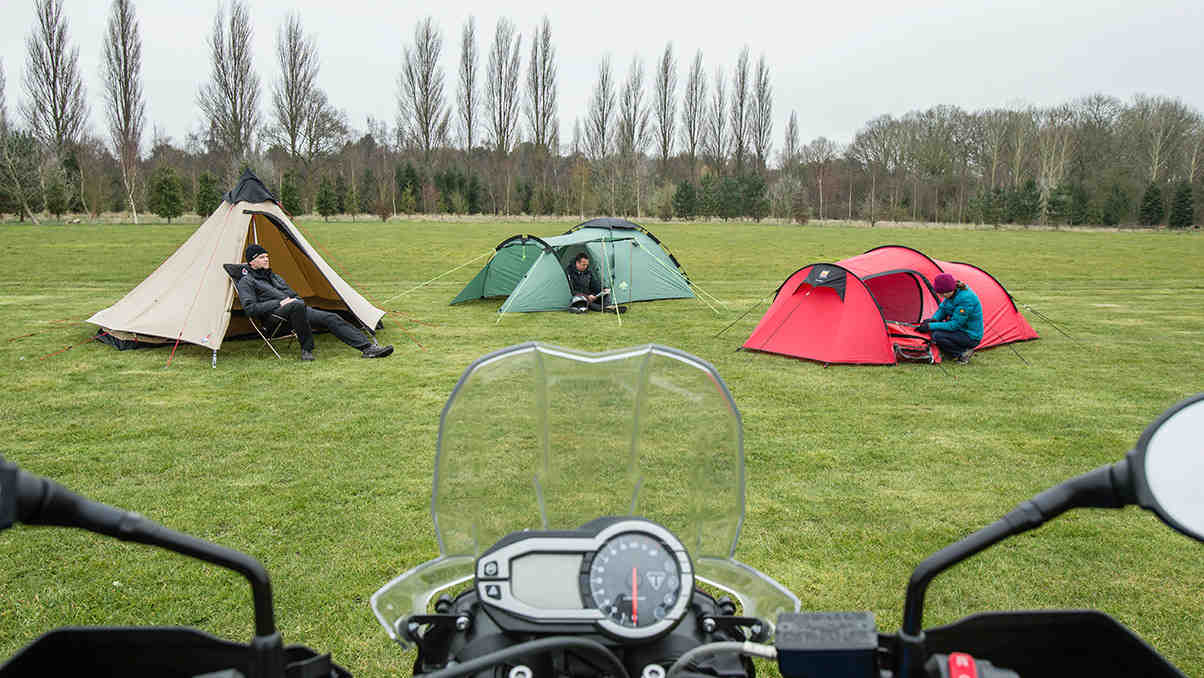 Three biker tents