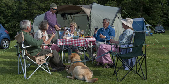 Grass pitches at Oldbury Hill campsite, Kent