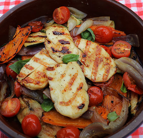 Chilli and lime halloumi with bbq'd ratatouille - The Camping and ...