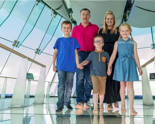 Family dare to venture across the thrilling glass floor