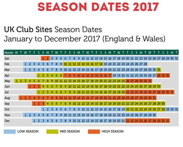 England and Scotland 2017 Season Dates