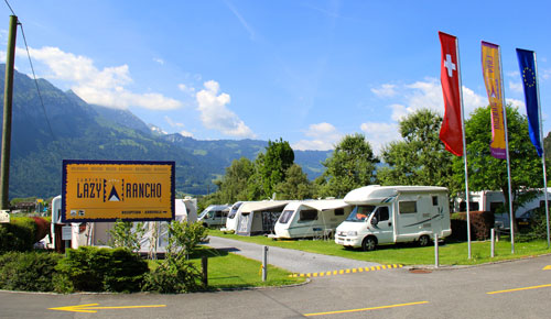 Camping in Switzerland; Lazy Rancho campsite