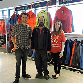 Dave Gibbins of Berghaus with Kieran Sandwell and Nikki Bell of the British Heart Foundation