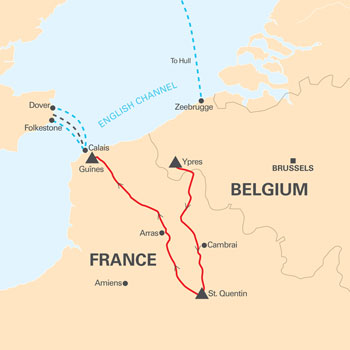 Belgium and France Tour Map