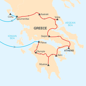 Greece escorted tour map