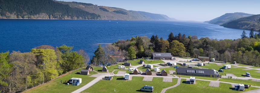 Aerial shot of Loch Ness campsite on the south shore