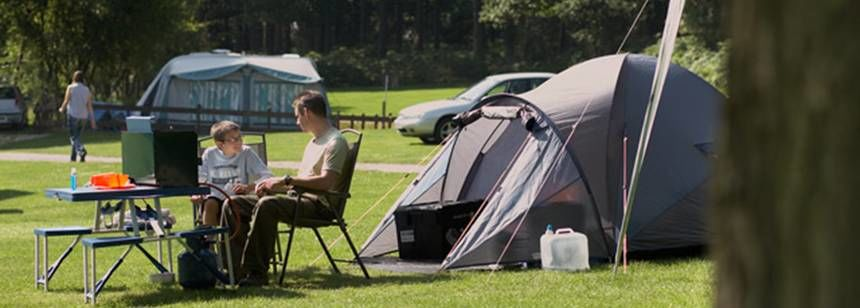 father and son enjoying cannock chase campsite