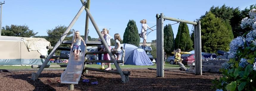 kids playing in play area on slapton sands campsite
