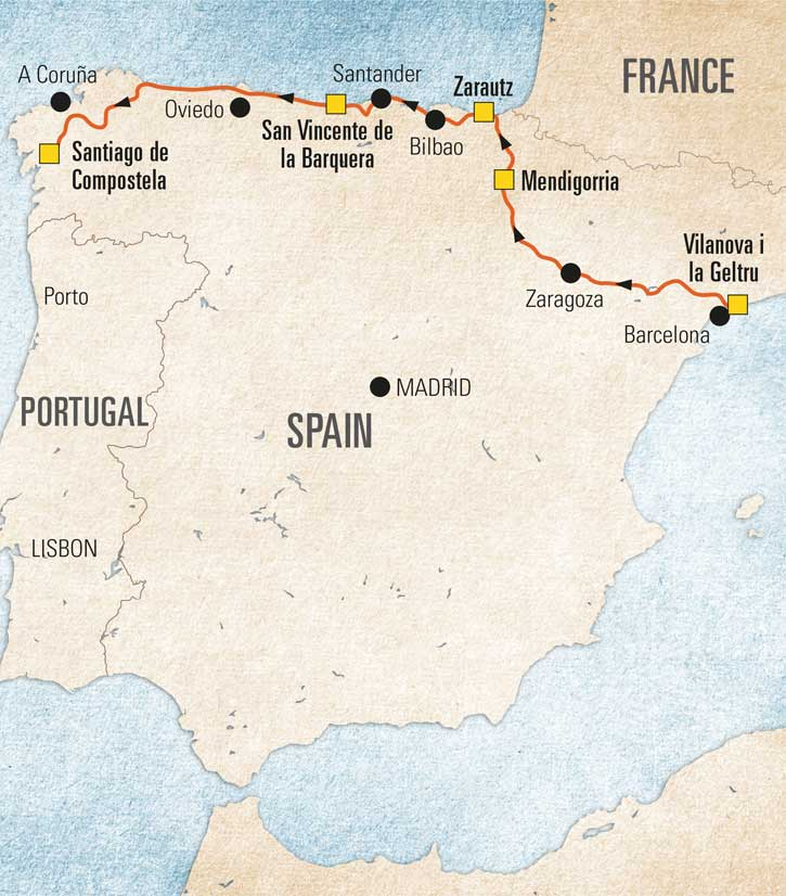 Map Of North Spain Coast.Northern Spain Coast To Coast The Camping And Caravanning Club