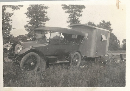 1920s car-towed caravan
