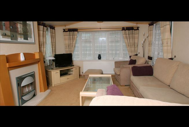 A view of the living room inside the self catering caravan
