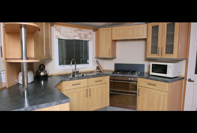 There is plenty of room to entertain friends and family in the caravan kitchen