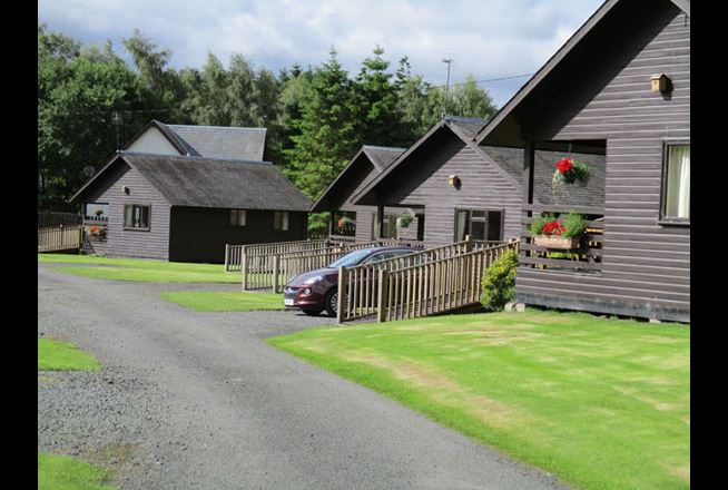 The exterior of the self-catering chalets