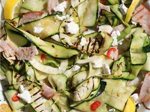 Warm courgette salad