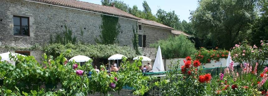 The restaurant terrace at le Moulin