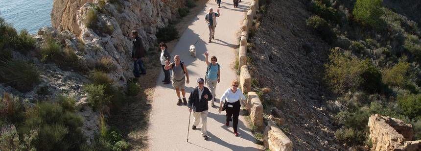 Hikers Walking Through the Mountains Near Benidorm