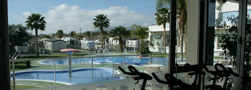 Pool area, Almafra campsite,Benidorm,Costa Blanca,Spain