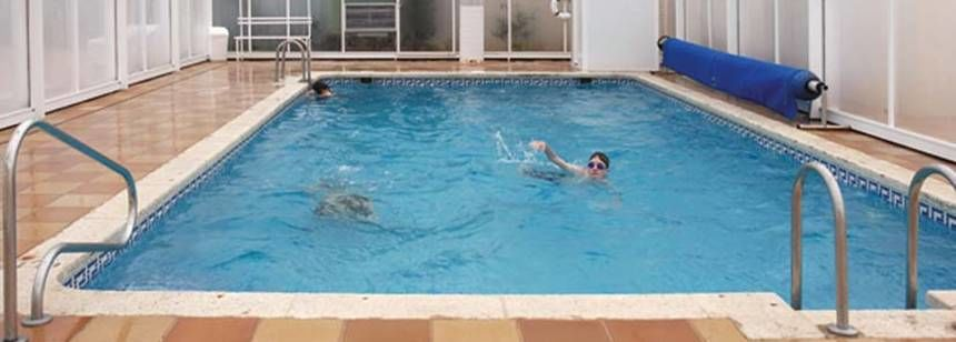 Indoor Swimming Pool at the Camping Bonterra Park Campsite, Benicassim Spain