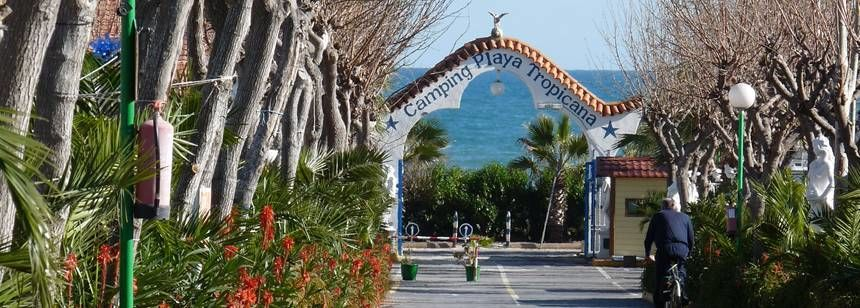 Site Entrance to the Camping Playa Tropicana Campsite, Alcossebre Spain