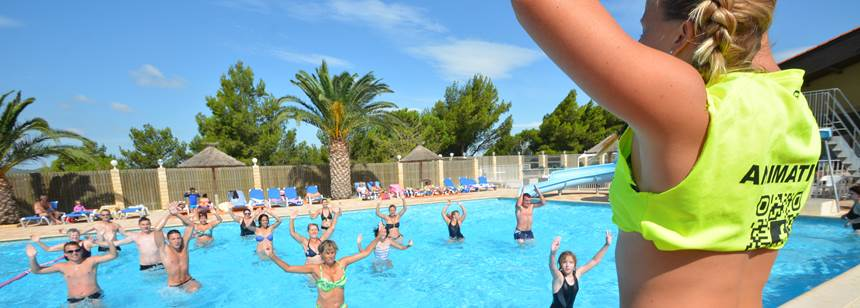 Aquagym class at Camping La Nautique, near Narbonne, Languedoc-Roussillon, France