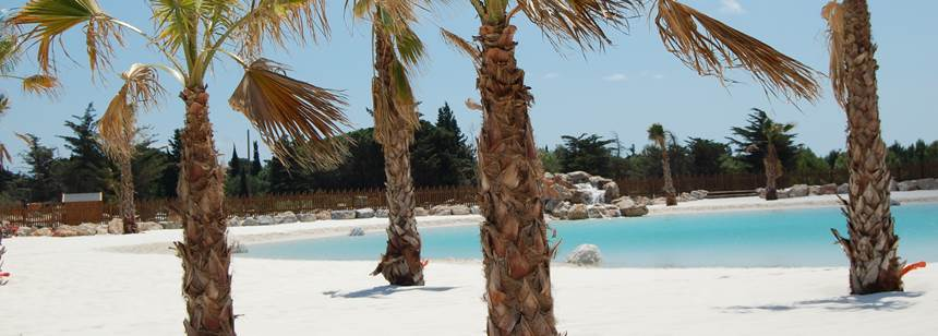 Swimming pool activites at La Nautique campsite, Narbonne, France