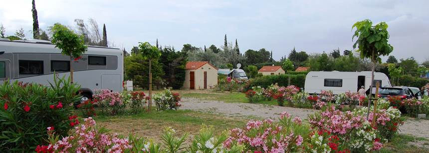 Extra large pitch at Camping La Nautique, near Narbonne, Languedoc-Roussillon, France